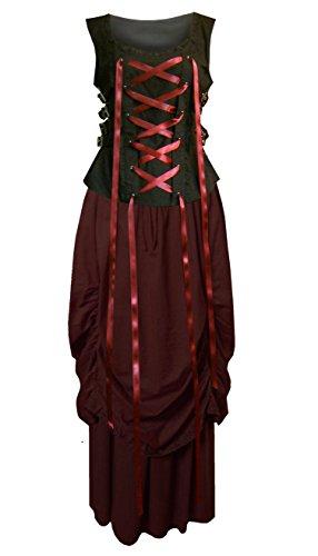 Steampunk Renaissance Victorian Gothic Buckle Ensemble Top & Skirt (3X, Burgundy / Black)