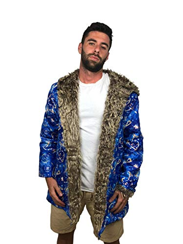 Northwest Furs Hooded Faux Fur Coat with Pockets, Festival Jacket for Men Woman Burning Man Costumes (L, Blue) (Best Burning Man Costumes)