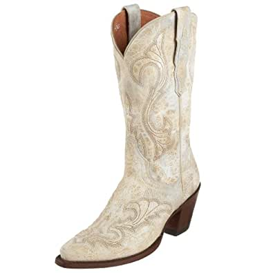 Dan Post Women's EL Paso Distressed White Boot 6 B - Medium