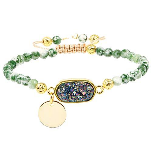TUMBEELLUWA Beads Bracelets Faceted Stone 4mm Healing Crystal Bracelet Oblong Shape Druzy Adjustable Handmade Jewelry for Women,Green Dalmation Jasper