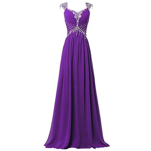 DianSheng Women's V-neck Prom Gowns Party Dresses Chiffon Long