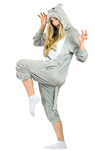 [Adult Onesie Totoro Animal Pajamas Comfortable Costume with Zipper and Pockets (Small)] (Totoro Costume Halloween)