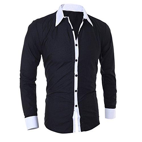 diseño Cebbay de Camisa Hombre Top Negro Personalidad Camisa Hombres Ocio Negocios y Empalme Manga de de Delgado para Liquidación Larga de y zzExw5qr