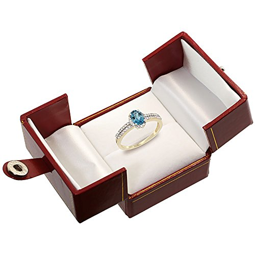 10K Yellow Gold Natural London Blue Topaz Ring Oval 6x4mm Diamond Accent, sizes 5 10