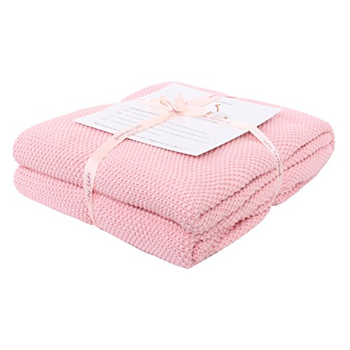 Adory Sweety Throw Blanket Moss Stitch Solid Soft Sofa Couch Decorative Knitted Blanket, 50 x 60 inch, As Gift with Free Washing Bag (Pink)