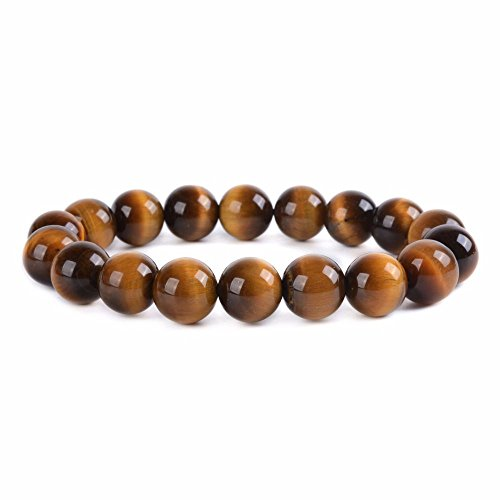 Golden Tigers Eye Bracelet (Natural AA Golden Tiger Eye Gemstone 10mm Round Beads Stretch Bracelet 6.5