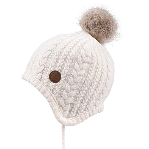 Price comparison product image SOMALER Toddler Kids Winter Ear Flap Beanie Hat Boy Girl Fur Pompom Knit Hats, White With Faux Fur Pompom, L:18.9''-20.47''(2T-6T)