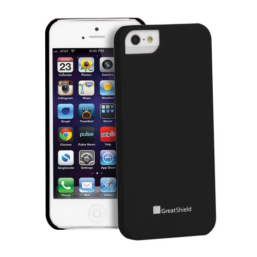 iPhone Case SE, série GreatShield Gardien Hard Case caoutchouté pour Apple iPhone SE (Noir)