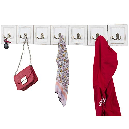 - Rustic Wall Mounted Coat Rack with 7 double hanging hooks. Overall Size is 43