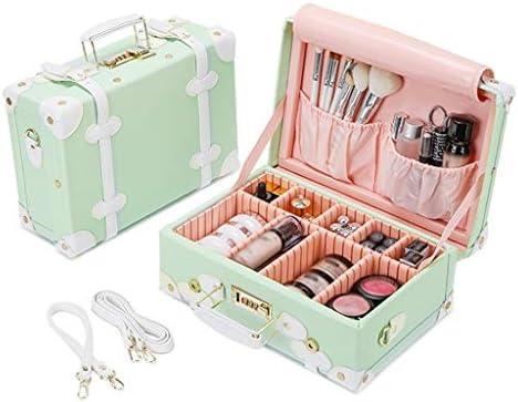 化粧品収納ボックス 世帯の化粧品の収納箱旅行ロックが付いている携帯用構造の収納箱ピンクのまだらにされた黒緑 SPFOZ (Color : Green)