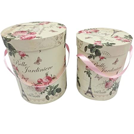 JVL Grade Cardboard Belle Floral Paris Pretty Decorative Round Lidded Storage Boxes Multi-Colour  sc 1 st  Amazon UK & JVL Grade Cardboard Belle Floral Paris Pretty Decorative Round ...