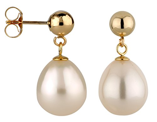14k Yellow Gold 5mm Ball Stud Earring with Freshwater Cultured Drop Pearl