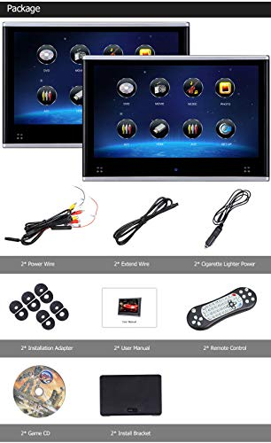 Dual Headrest DVD Player for Car Backseat Video Monitor Auto Rear Seat Entertainment System Touch Screen HD 1080P with DVD USB SD by AUTOWINGS (Image #6)