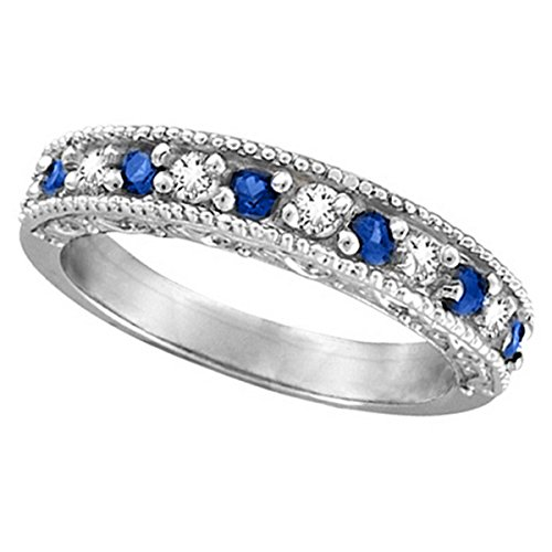 Diamond and Blue Sapphire Ring Filigree Milgrain Band Palladium (0.59ct)