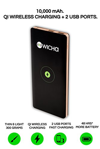 WICHA Wireless Portable Power Bank - WICHA 10000mAh External Battery with QI Wireless Charging 10000mAh support for iPhone X, iPhone 8, Samsung Galaxy and More. …