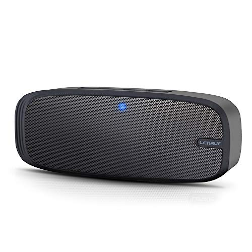 LENRUE A10 Bluetooth Speaker,Portable Wireles with Loud Stereo Sound, Rich Bass, 16-Hour Playtime, Built-in Mic. Perfect Portable Bluetooth Speaker for iPhone,Samsung and More (Black,Upgrade Version)