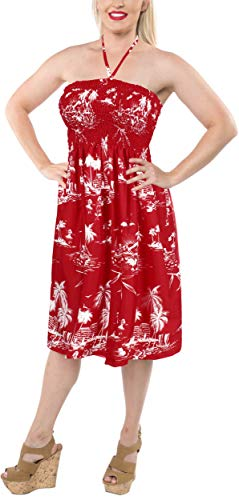 LA LEELA Soft  Printed Vacation Floral Cover Up Womens Red 1088 One Size