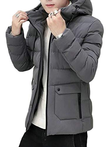 Down Men Jacket TTYLLMAO Slim Grey Lightweight Puffer Solid Hooded 1nYqAB