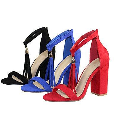 LvYuan Mujer-Tacón Robusto-Otro-Sandalias-Vestido Informal Fiesta y Noche-Tejido-Negro Azul Rojo Black