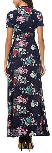 Sleeve Floral Womens Long Print Bohemian Party Dark V Maxi KorMei Neck Dress Short Blue qwASnxx