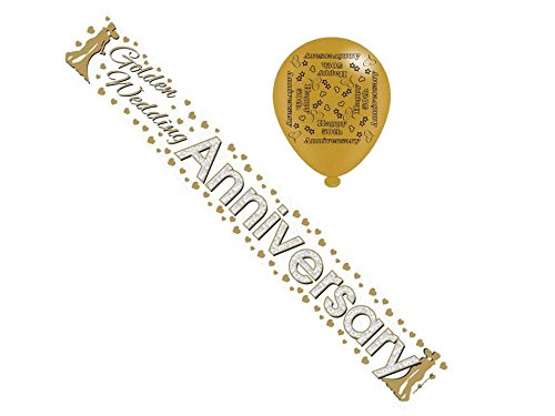 Golden 50th Anniversary Foil Party Banner & Balloons - 50th Anniversary Cards Galore