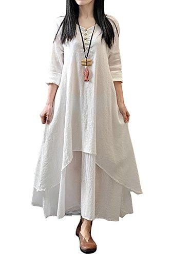 Damen Kleid 3 4 Arm A-Linie Unregelmäßig Lose Tunika Kleid Hanf Baumwolle a9b1e67c26