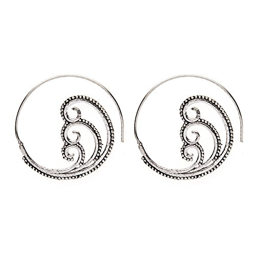 (81stgeneration Women's Brass Silver Tone Spiral Swirl Dotwork Tribal Ethnic Earrings)