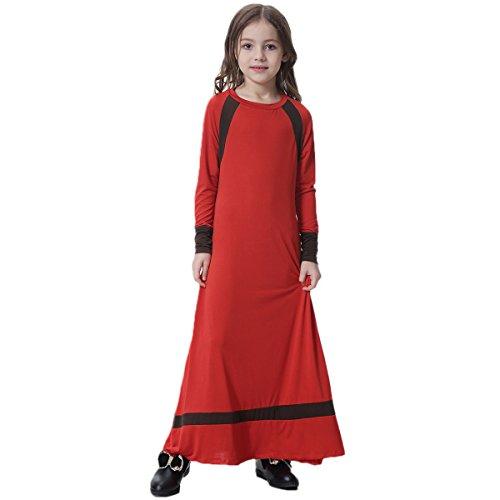 Arab Dance Girl (Muslim Islamic Girl's Soft O-Neck Full Length Long Sleeve Abaya Burka Arab Prayer Maxi Kaftan Liturgical Praise Dress Dancewear Worship Costume Red 16-17)