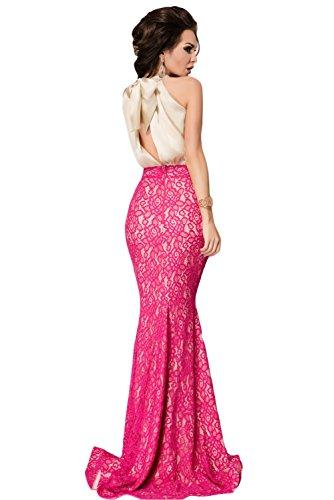 Damen elegante elfenbein Pink Lace Tie Zurück Abend Ball Cruise  Brautjungfer Kleid Größe M UK 10 EU 38