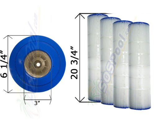 4 Pack 15 sq. ft. Cartridge Filter Pentair Quad D.E. 60 178654 C-6960 FC-1961 ()