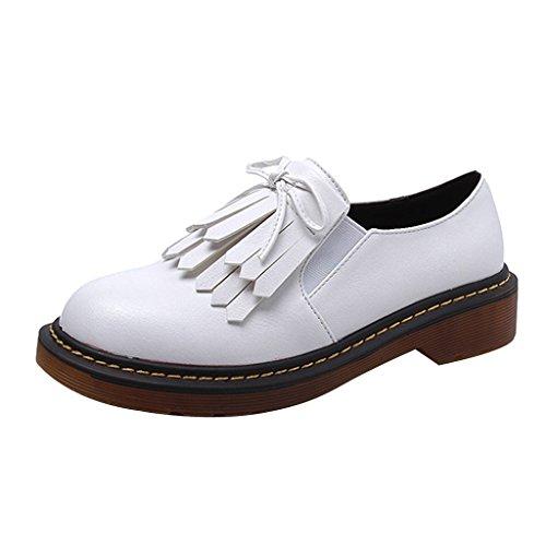 Estimado Time Slip On Tassel Oxford Zapatos Blanco