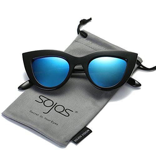 SojoS Retro Cat Eye Women Sunglasses 60's Fashion Thick Frame Mirror Lens SJ2939 With Black Frame/Dark Blue Mirrored - Eyes Sunglasses Blue