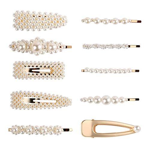 28eefb775ec4 Mujeres con estilo de metal lleno de perlas horquillas de la señora simples  pinzas para el
