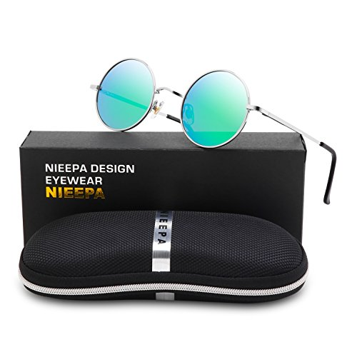 NIEEPA John Lennon Vintage Round Polarized Hippie Sunglasses Small Circle Metal Driving Sun Glasses (Green Lens/Silver - 90s Round Style Sunglasses