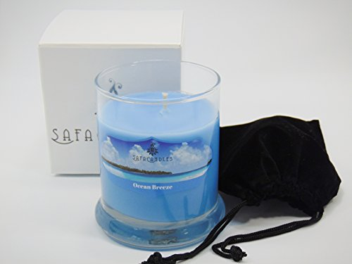 Safa Candles Ocean Breeze Candle - 8 Oz. Highly Scented Blue Jar Candle –Strong Scented Soy Wax Candles (Ocean Breeze Candle)