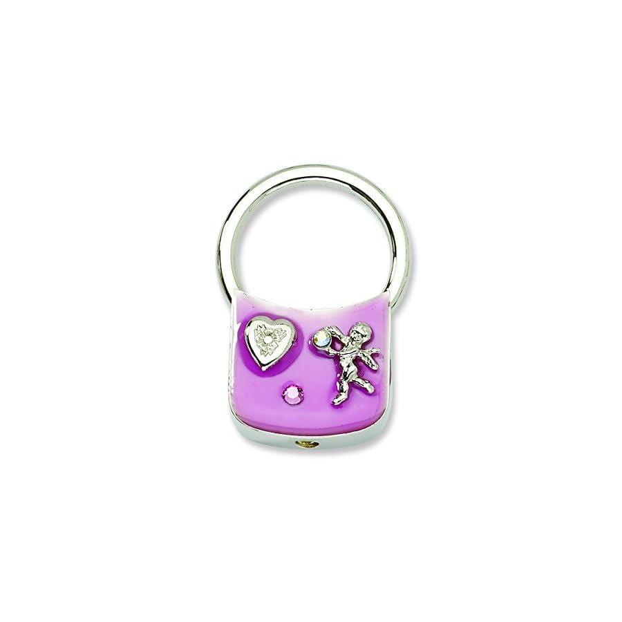 Silver tone Angel w/Crystals Pink Enamel Key Fob