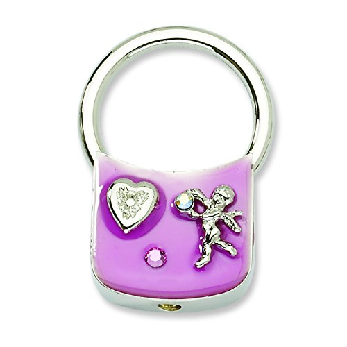Silver tone Angel with Crystals Pink Enamel Key Fob