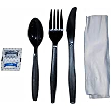 Faithful Supply Cutlery Packets Black Heavy Duty Individually Wrapped Cutlery Kits with Fork Spoon Knife Napkin and Salt and Pepper Packets - 50/Case