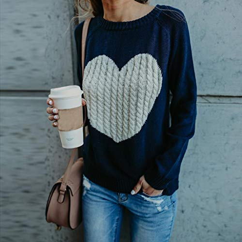 Manches Pullover Tricots Pull Femme Lache Capuche Taille Casual Jumper Love Femmes Grande Tops Trydoit Marine Sweat Solide Longues pxqBWtP