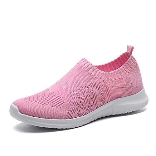 TIOSEBON Women's Walking Shoes Lightweight Mesh Slip-on- Breathable Running Sneakers 8.5 US Pink