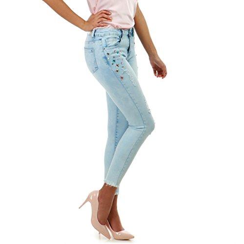 La Modeuse - Jeans Slim dlav et Destroy Bleu Clair