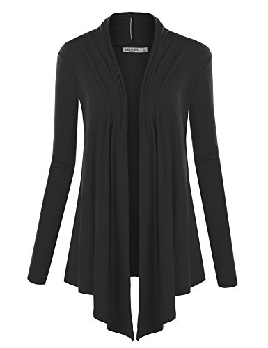 - WSK850 Womens Draped Open- Front Cardigan L Black