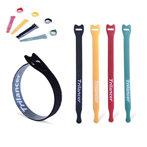Reusable Cable Ties, Trilancer Cord Wraps, Adjustable Strap Fastener, Cable Organizer, Fastening Hook and Loop (6 Inches/Multicolor/40PCS)