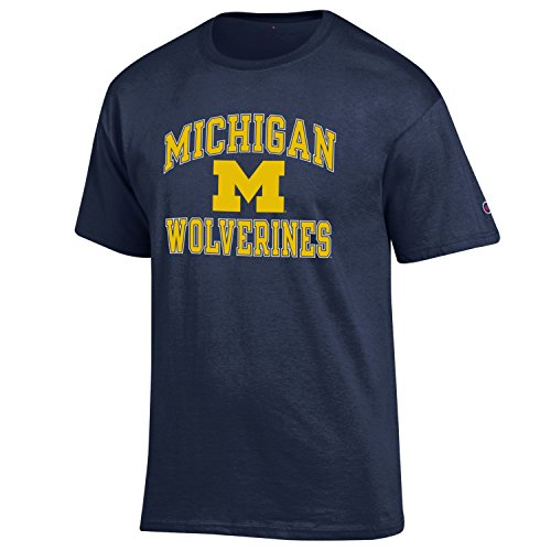 NCAA Michigan Wolverines Men's Classic Graphic Short Sleeve Tee, XX-Large, Navy Champion Sports Apparel