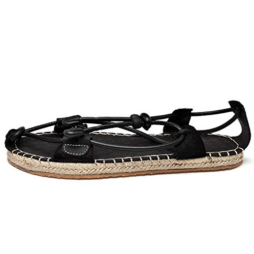 Rope Sandals for Men 2019 New Causal Espadrille Ethnic Style Light Weight Roman Straw Shoes (US:8, Black)