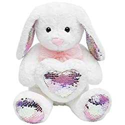 Plush White Sequins Rabbit Dolls Holding Heart