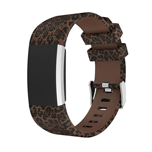 Leopard Wristband (For Fitbit Charge 2 Replacement Bands ,Sport Silicone Wristbands Wrist Strap Skull Leopard Military Print Watch Accessories 130-195MM (F))