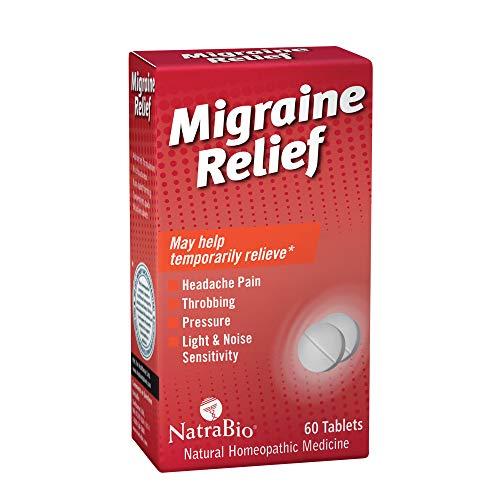 NatraBio Migraine Relief   May Help Temporarily Relieve Headache Pain, Light & Noise Sensitivity   Non-Drowsy Formula   60 Quick-Dissolve ()