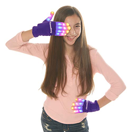 The Noodley's Flashing LED Light Gloves Medium Purple with Extra Batteries Super Bright LEDs Orange, Pink, and Blue]()