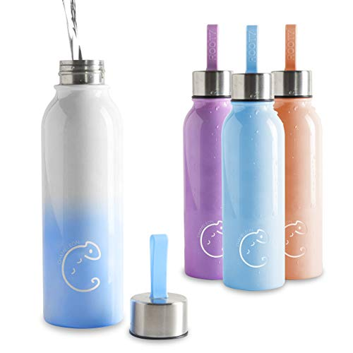 Root7 Chameleon Bottle (White/Blue) | 21oz | The First Color Changing Steel Water Bottle, 18/8 Stainless Steel, BPA Free Drinking Bottle, Reduce Plastic Waste - Reusable Metal Bottle for Adults, Kids